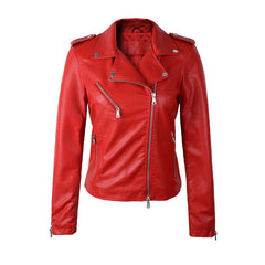 high quality New Autumn Winter Fashion Turn-down Collar Short Leather Jacket Black Slim Red Leather Coat Drop-Dollar Bargains Online Shopping Australia