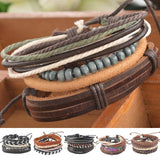 1Set 4pcs Braided Adjustable Leather popular Bracelet Cuff Women Men`s Casual Jewelry-Dollar Bargains Online Shopping Australia