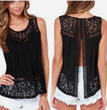 Summer Women Chiffon Blouse Shirts Crochet Lace Vest Sexy Open Back Sleeveless Shirt Tank Tops Blusas Femininas S-4XL 1150C-Dollar Bargains Online Shopping Australia