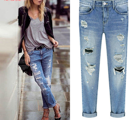 Spring Women Jeans Ripped Holes Fashion Straight Full Length Mid Waist Famale Washed Denim Pants Cotton Trousers-Dollar Bargains Online Shopping Australia
