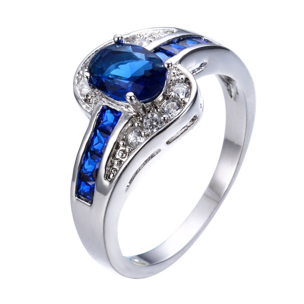 10JUNXIN Unique Sapphire Jewelry Blue Oval Zircon Stone Ring White Gold Filled Wedding Engagement Rings For Women Men RW0375