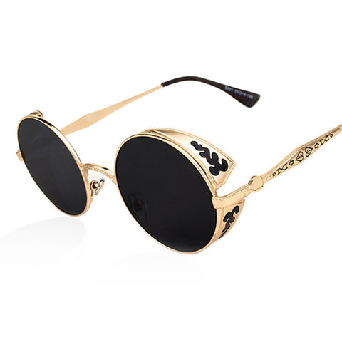 AOFLY Steampunk Vintage Sunglass Fashion round sunglasses women brand designer metal carving sun glasses men oculos de sol S1635 - Dollar Bargains - 1