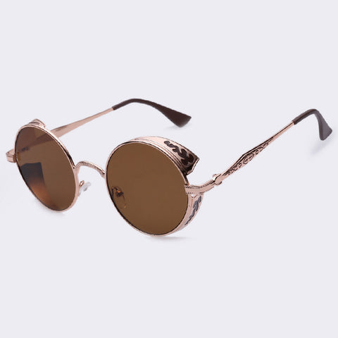 AOFLY Steampunk Vintage Sunglass Fashion round sunglasses women brand designer metal carving sun glasses men oculos de sol S1635 - Dollar Bargains - 6