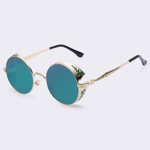 AOFLY Steampunk Vintage Sunglass Fashion round sunglasses women brand designer metal carving sun glasses men oculos de sol S1635 - Dollar Bargains - 4