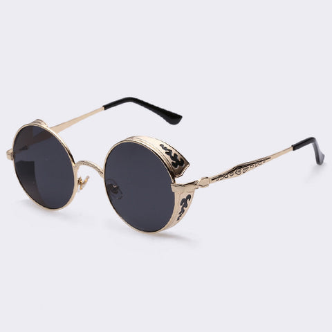 AOFLY Steampunk Vintage Sunglass Fashion round sunglasses women brand designer metal carving sun glasses men oculos de sol S1635 - Dollar Bargains - 5