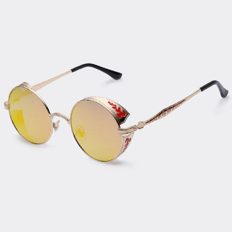 AOFLY Steampunk Vintage Sunglass Fashion round sunglasses women brand designer metal carving sun glasses men oculos de sol S1635 - Dollar Bargains - 3