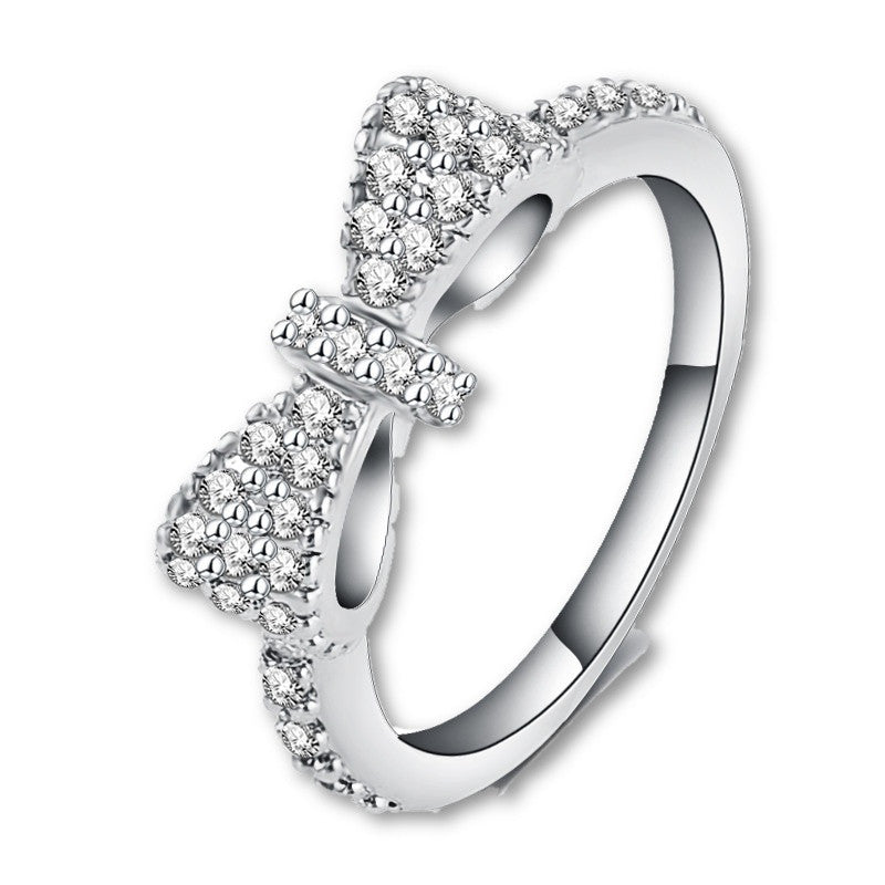 Elegant Bow Ring Platinum Plated Micro Inlay Cubic Zirconia Ring Lovers Jewelry Accessories Ring for Girl CRI0143-B