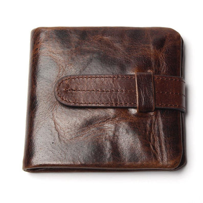 Luxury Vintage Casual 100% Real Genuine Cowhide Oil Wax Leather Men Short Bifold Wallet Wallets Purse Coin Pocket Male Zipper-Dollar Bargains Online Shopping Australia