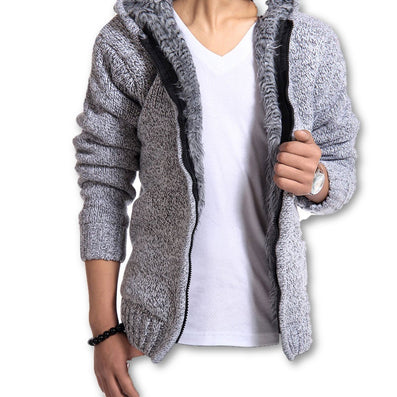 Autunm Winter Fur Lining Thicken Hoodies Men Casual Zipper Solid Warm Moleton Masculino MZM179-Dollar Bargains Online Shopping Australia