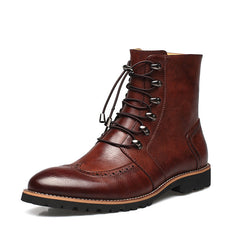 New Arrival Fashion Bullock shoes,Handmade super warm Genuine leather winter boots Men,Casual British style Snow boots for men-Dollar Bargains Online Shopping Australia