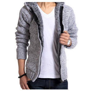 Men's Fashion Solid Thick Warm Sweater Male Casual Hooded Winter Wear Fur Lining Sweater MZM179-Dollar Bargains Online Shopping Australia