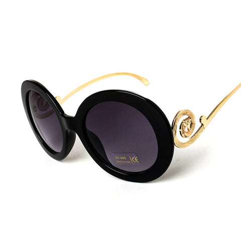 Round Big Frame Fox Metal Temple Glasses New Vintage Baroque Fashion Summer Cool Sunglasses Women Brand Designer shades S1325 - Dollar Bargains - 1
