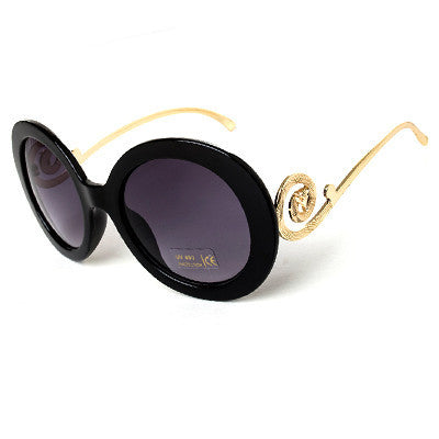 Round Big Frame Fox Metal Temple Glasses New Vintage Baroque Fashion Summer Cool Sunglasses Women Brand Designer shades S1325 - Dollar Bargains - 3