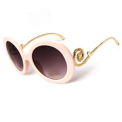 Round Big Frame Fox Metal Temple Glasses New Vintage Baroque Fashion Summer Cool Sunglasses Women Brand Designer shades S1325 - Dollar Bargains - 6
