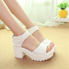 Fashion Sandals Women Summer shoes wedges Open Toe Thick Heel Mujer Soft PU Women Platform Sandals high-heeled Shoes Woman-Dollar Bargains Online Shopping Australia