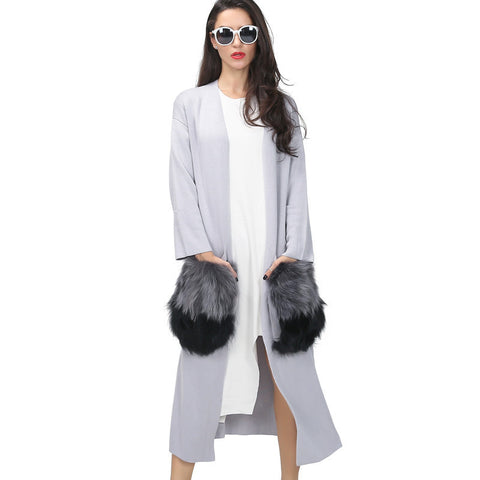 [TWOTWINSTYLE] 2016 long cardigan trench coat for women knitwear natural fur big pocket attachable autumn streetwear windbreaker - Dollar Bargains - 1