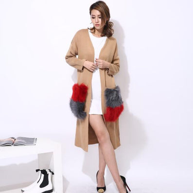 Long cardigan trench coat for women knitwear natural fur big pocket attachable autumn streetwear windbreaker-Dollar Bargains Online Shopping Australia