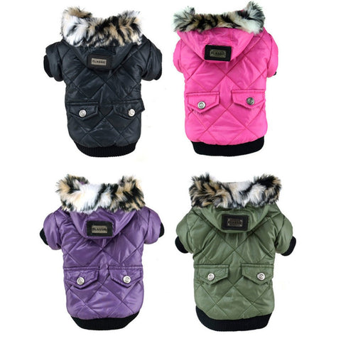 Large Puppy Dog Cute Warm Coat For Pet Faux Pockets Fur Trimmed Dog Hoodies Jacket Costume - Dollar Bargains - 1