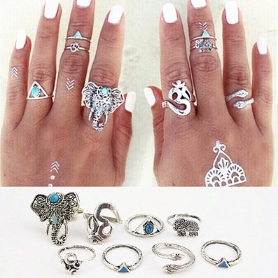 8PCS/Set Fashion Vintage Bohemian Turkish Midi Ring Set Steampunk Elephant Snake Ring Knuckle Rings Women Anel Joint Ring J-264-Dollar Bargains Online Shopping Australia