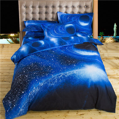 Beautiful 3d Galaxy Bedding Sets Twin/Queen Size Universe Outer Space Themed  Bedspread 2pcs/3pcs