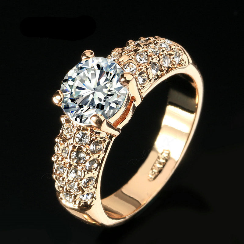 Engagement Wedding Rings CZ Diamond 18K Rose Gold Plated Fashion Brand Rhinestone Ring Jewelry For Women anel DFR105