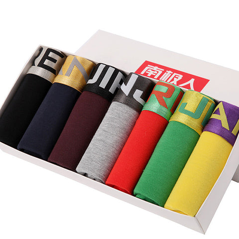 7Pcs/lot Brand New 2016 Sexy Super Large Size Mens Underwear U Convex boxer short Luxury Breathable Belt Shorts L~3XL Gift Box - Dollar Bargains - 1