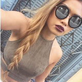 New Summer Style Sexy Lace Up Women Cropped Tanks Tops Vest Sexy Sleeveless Suede Bralette Bandage Crop Tops Camisole S-XL-Dollar Bargains Online Shopping Australia