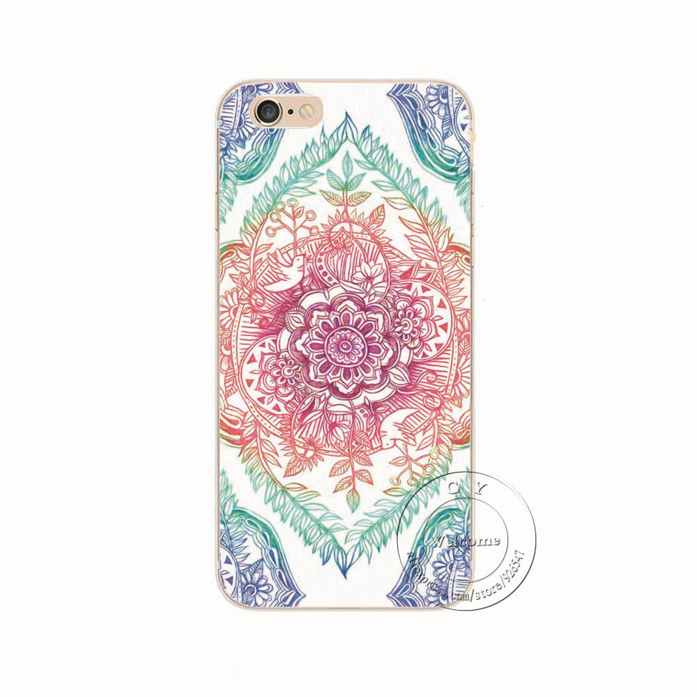 1404 / For iPhone 6 6SShell For Apple iPhone 5 5S SE 5C 6 6S 7 Plus 6SPlus Back Case Cover Printing Mandala Flower Datura Floral Cell Phone Cases