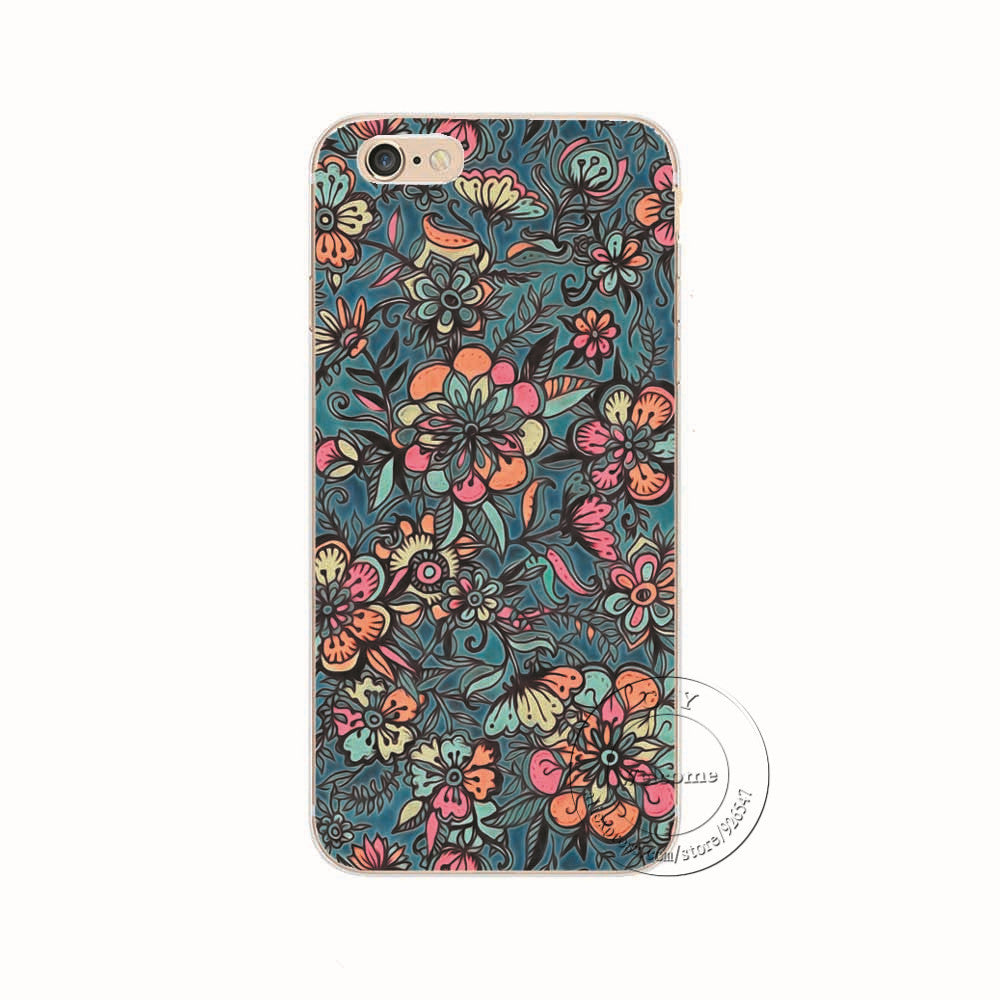 1406 / For iPhone 6 6SShell For Apple iPhone 5 5S SE 5C 6 6S 7 Plus 6SPlus Back Case Cover Printing Mandala Flower Datura Floral Cell Phone Cases