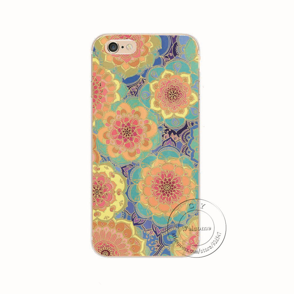 1408 / For iPhone 6 6SShell For Apple iPhone 5 5S SE 5C 6 6S 7 Plus 6SPlus Back Case Cover Printing Mandala Flower Datura Floral Cell Phone Cases