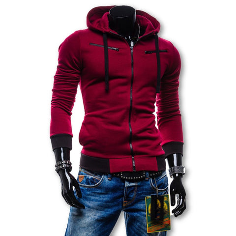 2015 Autumn Cardigan Men Hoodies Jacket Brand Clothing Fashion Hoodies Man Casual Slim Hoody Sweatshirt Sportswear Zipper Hoodie - Dollar Bargains - 1