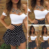 2 Piece Sets Women short Sleeve Crop Top + Mini Dot Skirt Set High Waist Bodycon Sexy-Dollar Bargains Online Shopping Australia