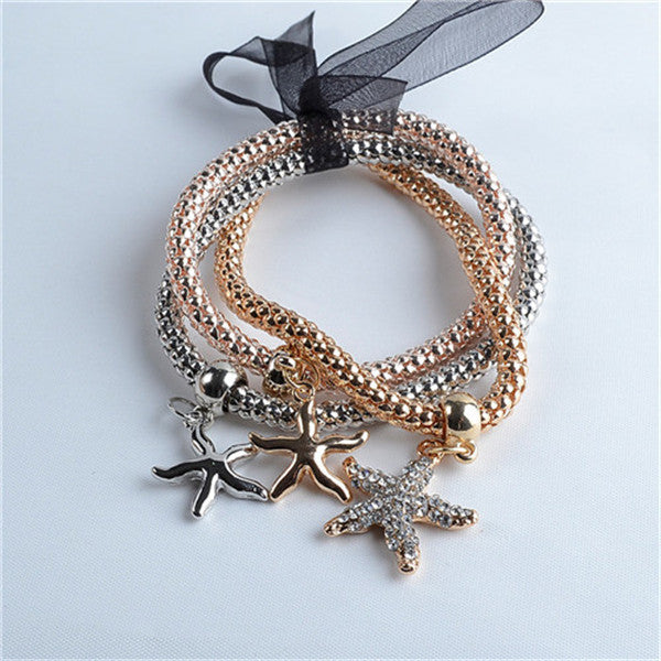 Style 1New arrival 3Pcs/set Multilayer Bracelets starfish/love Charm Bracelets for women/girls Valentine's Day gifts