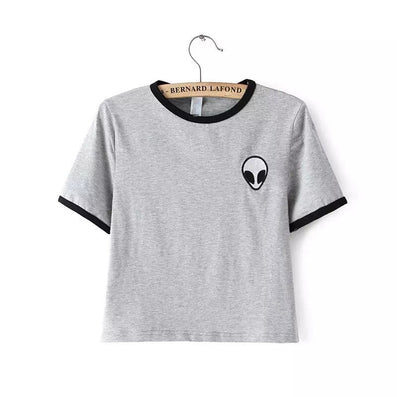Alien UFO Printed Short Top Shirt Tee Fashion Women T-shirt Tumblr Tops Female kawaii Funny-Dollar Bargains Online Shopping Australia