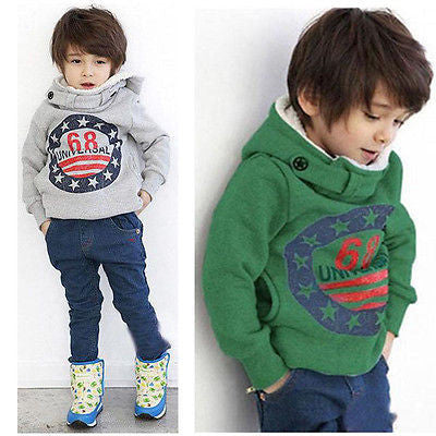Gray / 2TBaby Boys Kids' Thick Coat Tops Hoodies Jacket Sweater Outwear Pullover 2-7Y