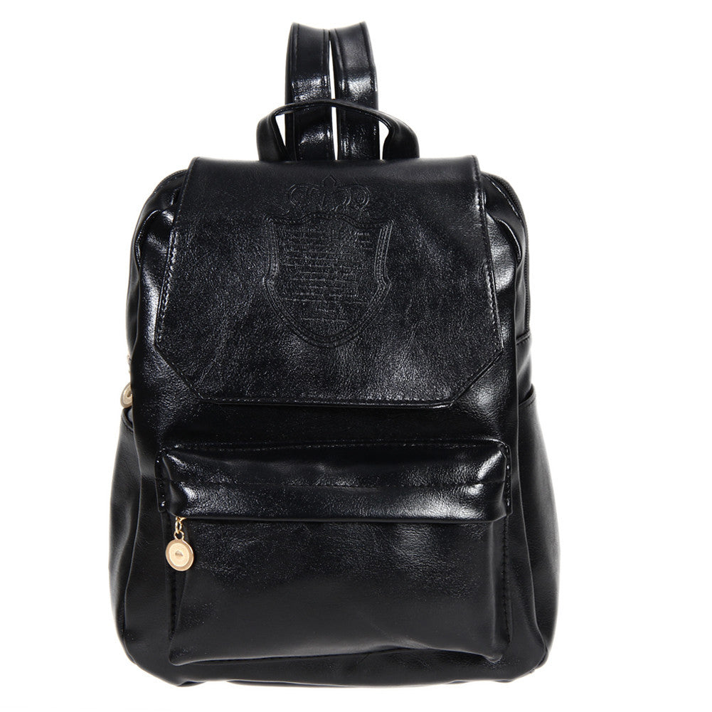 BlackFashion Oil Leather Backpack Women School Bags for Teenagers PU Leather Backpack 4 Colors Travel Bag Pouch Mochila Feminina