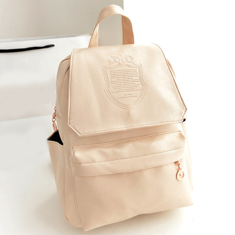 WhiteFashion Oil Leather Backpack Women School Bags for Teenagers PU Leather Backpack 4 Colors Travel Bag Pouch Mochila Feminina