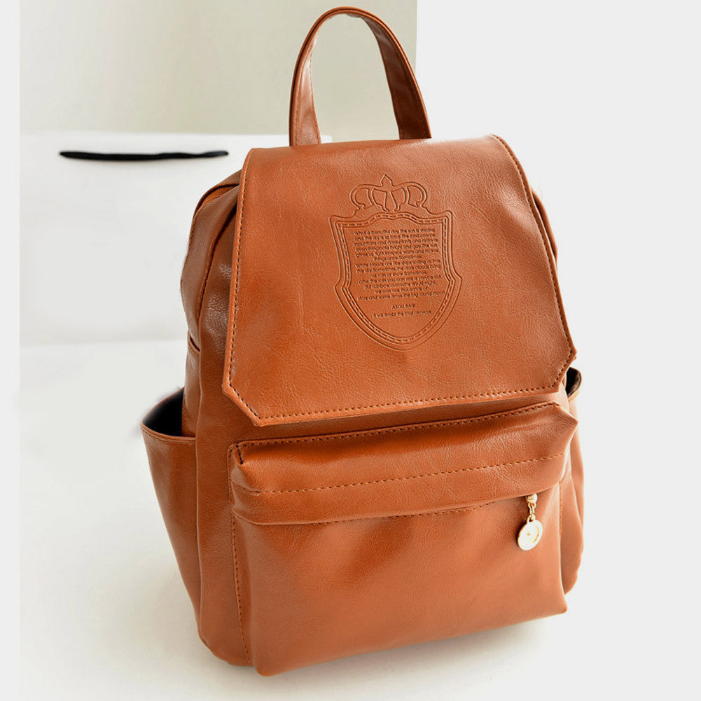 BrownFashion Oil Leather Backpack Women School Bags for Teenagers PU Leather Backpack 4 Colors Travel Bag Pouch Mochila Feminina