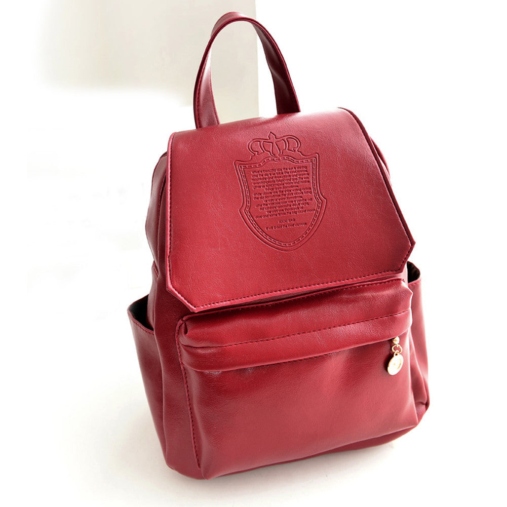 RedFashion Oil Leather Backpack Women School Bags for Teenagers PU Leather Backpack 4 Colors Travel Bag Pouch Mochila Feminina
