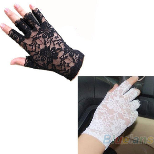 New Goth Party Sexy Dressy Women Lady Lace Gloves Mittens AccessoriesFingerless Black White 011C - Dollar Bargains
