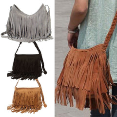 Fashion Women Suede Weave Tassel Shoulder Bag Messenger Bag Fringe Handbags High Quality-Dollar Bargains Online Shopping Australia