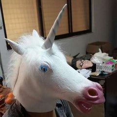 Creepy Unicorn Head Latex Mask Halloween Costume Theater Prank Prop Crazy Masks-Dollar Bargains Online Shopping Australia