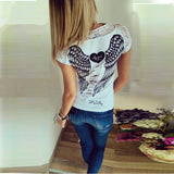 Fashion Women's T shirt Back Hollow Angel Wings T-shirt Tops Summer Style Woman Lace Short Sleeve Tops T shirts Clothing-Dollar Bargains Online Shopping Australia