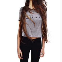 Killin It Letter Print Fashion Women Summer Top Letter Print Casual T shirt Sexy Slim Funny Top Tee Short Sleeve Shirts-Dollar Bargains Online Shopping Australia