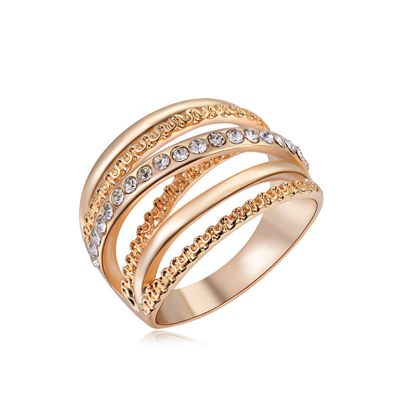 6 / Rose Gold Plated18K Rose Gold Plated Elegant Rhinestone Zirconia Jewelry Finger Rings for Women Wedding Band Classic Rings Size 6 7 8