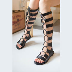 Gladiator Sandals Woman knee high sandalias botas femininas summer Sexy Cross-tied Lace up Women Boots Sandal Shoes-Dollar Bargains Online Shopping Australia