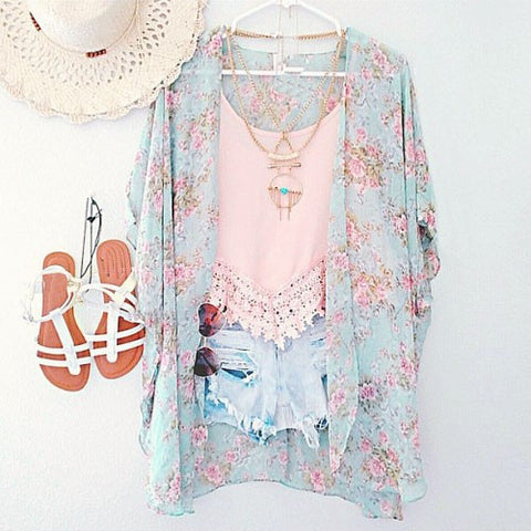 New Arrivals 2016 Women Blouses Plus Sizes Floral  Cardigan Women Tops Chiffon Batwing Blouse Kimono Cardigan Chemise Femme XXXL - Dollar Bargains - 1