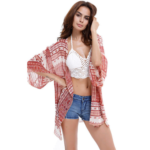 New Arrivals 2016 Women Blouses Plus Sizes Floral  Cardigan Women Tops Chiffon Batwing Blouse Kimono Cardigan Chemise Femme XXXL - Dollar Bargains - 5