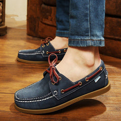 British Style Fashion Men Boat Shoes Spring Autumn Youth Lace Up Casual Comfortable Flat Men Shoes Round Toe Men Shoes-Dollar Bargains Online Shopping Australia