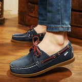 2016 British Style Fashion Men Boat Shoes Spring Autumn Youth Lace Up Casual Comfortable Flat Men Shoes Round Toe Men Shoes - Dollar Bargains - 1
